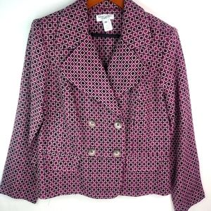 Miss Dorby Red Pink Double Breasted Blazer 14 Plus